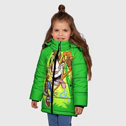 Детская зимняя куртка для девочки с принтом CRASH BANDICOOT, цвет: 3D-черный, артикул: 10275187506065 — фото 2