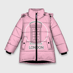 Куртка зимняя для девочки Телефонная будка, London цвета 3D-черный — фото 1