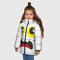Куртка зимняя для девочки Испуганное лицо цвета 3D-черный — фото 2