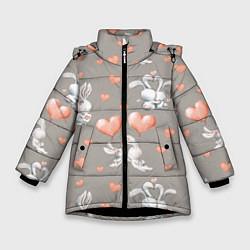 Куртка зимняя для девочки Влюбленные цвета 3D-черный — фото 1