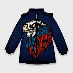 Детская зимняя куртка для девочки с принтом Зоркий глаз, цвет: 3D-черный, артикул: 10278352106065 — фото 1