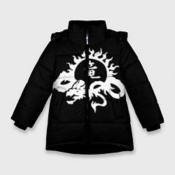 Куртка зимняя для девочки Ребёнок на китайском цвета 3D-черный — фото 1