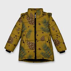 Куртка зимняя для девочки Сибирские шишки цвета 3D-черный — фото 1