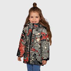 Куртка зимняя для девочки Самурай Якудза, драконы цвета 3D-черный — фото 2