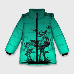 Куртка зимняя для девочки Олень из лесных символов цвета 3D-черный — фото 1