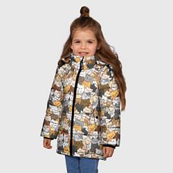 Куртка зимняя для девочки Котики муркотики цвета 3D-черный — фото 2