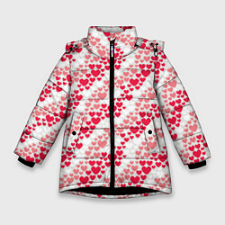 Куртка зимняя для девочки Волны Любви цвета 3D-черный — фото 1