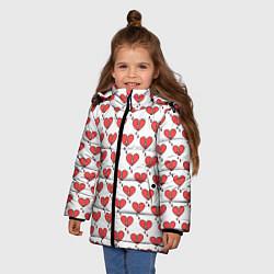 Куртка зимняя для девочки Разбитое Сердце цвета 3D-черный — фото 2