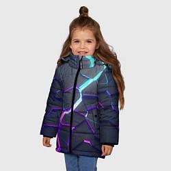 Куртка зимняя для девочки НЕОНОВЫЙ РАЗЛОМ 3Д РАЗЛОМ цвета 3D-черный — фото 2