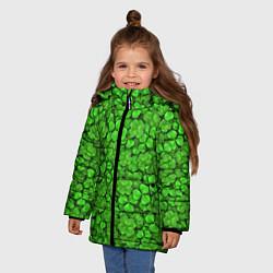 Куртка зимняя для девочки Зелёный клевер цвета 3D-черный — фото 2