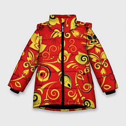 Куртка зимняя для девочки ХОХЛОМА цвета 3D-черный — фото 1