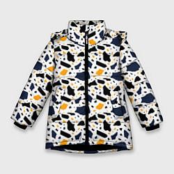Куртка зимняя для девочки Итальянский Узор Терраццо цвета 3D-черный — фото 1
