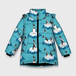 Куртка зимняя для девочки Пингвины цвета 3D-черный — фото 1