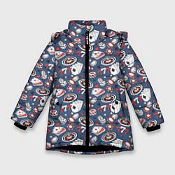 Куртка зимняя для девочки Казино цвета 3D-черный — фото 1