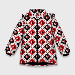 Куртка зимняя для девочки Карточный Катала цвета 3D-черный — фото 1