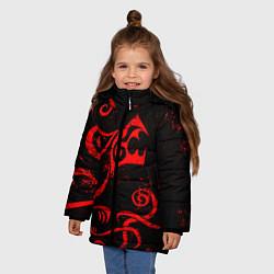 Куртка зимняя для девочки ТАТУИРОВКА ДРАКЕНА цвета 3D-черный — фото 2