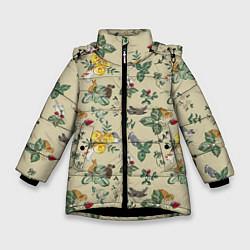 Куртка зимняя для девочки Зайчики с Цветочками цвета 3D-черный — фото 1