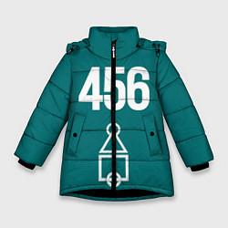 Куртка зимняя для девочки Игра в кальмара - Squid game 456 цвета 3D-черный — фото 1