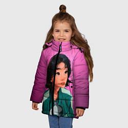 Куртка зимняя для девочки 067 игра в кальмара цвета 3D-черный — фото 2