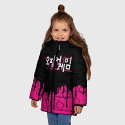 Куртка зимняя для девочки Игра в кальмара: Логотип цвета 3D-черный — фото 2