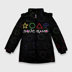Куртка зимняя для девочки ИГРА В КАЛЬМАРА ФИГУРЫ УЗОР цвета 3D-черный — фото 1