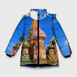 Куртка зимняя для девочки Храм Василия Блаженного цвета 3D-черный — фото 1