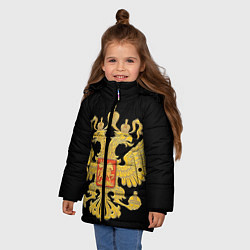 Куртка зимняя для девочки Герб России: золото - фото 2