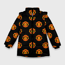 Куртка зимняя для девочки Manchester United Pattern цвета 3D-черный — фото 1