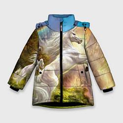 Детская зимняя куртка для девочки с принтом Радужный единорог, цвет: 3D-черный, артикул: 10065040406065 — фото 1