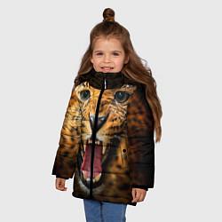 Куртка зимняя для девочки Рык леопарда цвета 3D-черный — фото 2