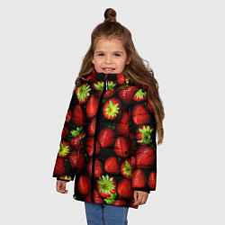Куртка зимняя для девочки Клубничка цвета 3D-черный — фото 2
