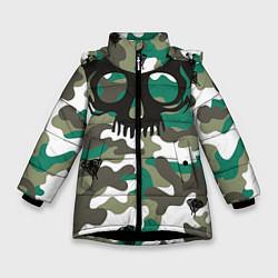 Детская зимняя куртка для девочки с принтом Камуфляж, цвет: 3D-черный, артикул: 10065272606065 — фото 1