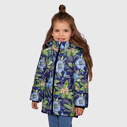 Детская зимняя куртка для девочки с принтом Голубые попугаи, цвет: 3D-черный, артикул: 10065279506065 — фото 2
