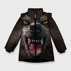 Куртка зимняя для девочки Волчий рык цвета 3D-черный — фото 1