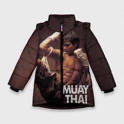 Куртка зимняя для девочки Муай тай боец цвета 3D-черный — фото 1