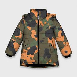 Куртка зимняя для девочки Камуфляж: хаки/оранжевый цвета 3D-черный — фото 1
