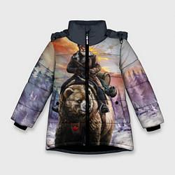 Детская зимняя куртка для девочки с принтом Красноармеец на медведе, цвет: 3D-черный, артикул: 10071970406065 — фото 1
