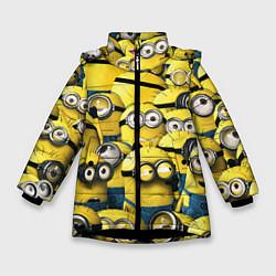 Куртка зимняя для девочки Minions цвета 3D-черный — фото 1