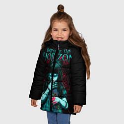 Детская зимняя куртка для девочки с принтом BMTH: Zombie Girl, цвет: 3D-черный, артикул: 10073644406065 — фото 2