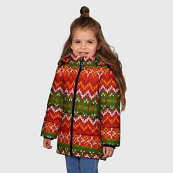 Куртка зимняя для девочки Зимний узор цвета 3D-черный — фото 2