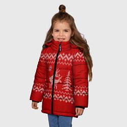 Куртка зимняя для девочки Олени под елками цвета 3D-черный — фото 2