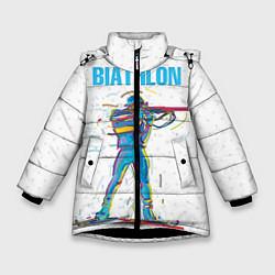 Куртка зимняя для девочки Биатлон цвета 3D-черный — фото 1
