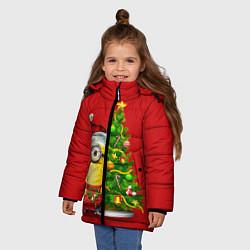 Куртка зимняя для девочки Ёлка миньона цвета 3D-черный — фото 2