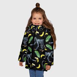 Куртка зимняя для девочки Обезьянки и бананы цвета 3D-черный — фото 2