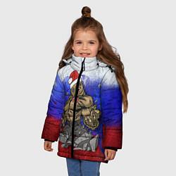 Куртка зимняя для девочки Новогодний медведь РФ цвета 3D-черный — фото 2
