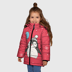 Детская зимняя куртка для девочки с принтом Влюбленная пингвинка, цвет: 3D-черный, артикул: 10079040806065 — фото 2