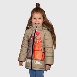 Куртка зимняя для девочки Влюбленные котики цвета 3D-черный — фото 2