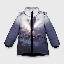 Куртка зимняя для девочки Небесные лошади цвета 3D-черный — фото 1