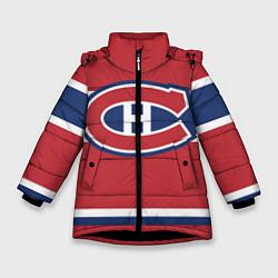 Детская зимняя куртка для девочки с принтом Montreal Canadiens, цвет: 3D-черный, артикул: 10079438006065 — фото 1