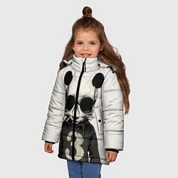 Куртка зимняя для девочки Скелет панды цвета 3D-черный — фото 2